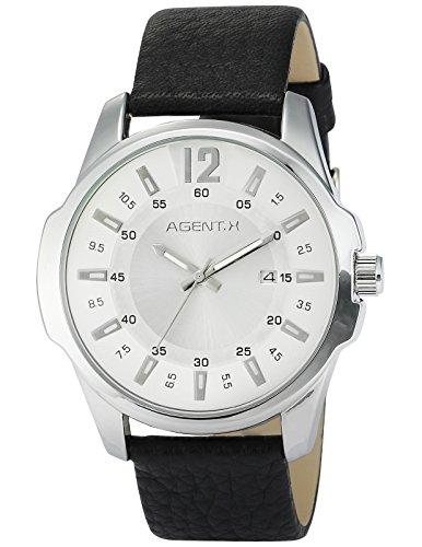 Agent X Herren Armbanduhr Quarzuhr mit Schwarze Armband aus Leder AGX031