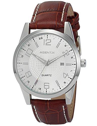Agent X Herren Armbanduhr Quarzuhr mit Schwarze Armband aus Leder AGX004