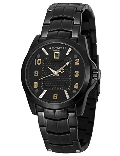 Agent X Herren Armbanduhr Schwarz Edelstahl Uhrband Quarzuhr AGX141