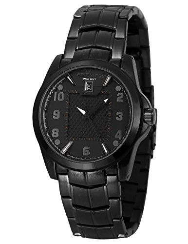 Agent X Herren Armbanduhr Schwarz Edelstahl Uhrband Quarzuhr AGX140