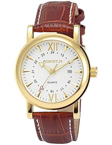 Agent X Herren Armbanduhr Quarzuhr mit Braun Armband aus Leder AGX012