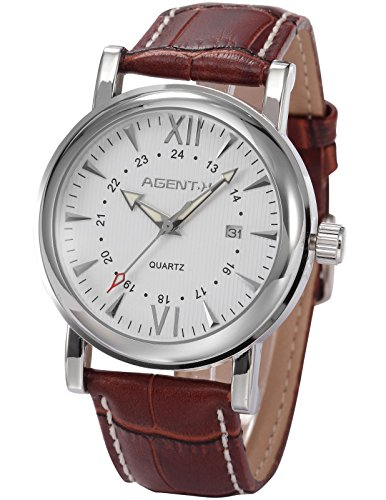Agent X Herren Armbanduhr Quarzuhr mit Braun Armband aus Leder AGX015