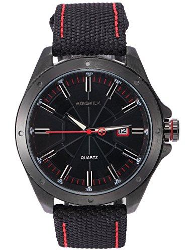 Agent X Herren Armbanduhr Schwarz Datum Anzeige Japan Quarz Nylon Band Uhr AGX149