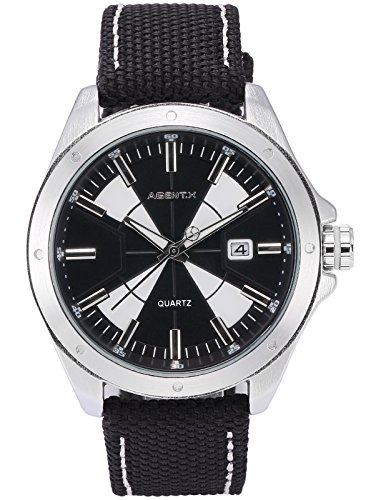 Agent X Herren Armbanduhr Schwarz Datum Anzeige Japan Quarz Nylon Band Uhr AGX146