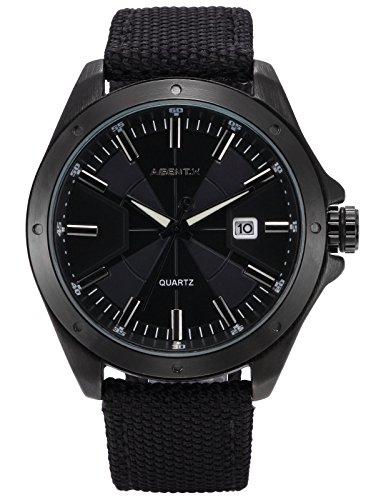 Agent X Herren Armbanduhr Schwarz Datum Anzeige Japan Quarz Nylon Band Uhr AGX147