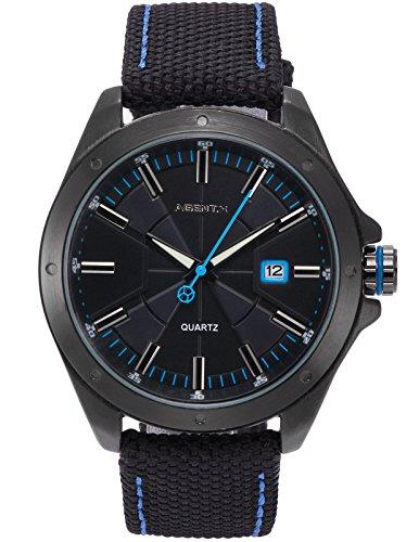 Agent X Herren Armbanduhr Schwarz Datum Anzeige Japan Quarz Nylon Band Uhr AGX150