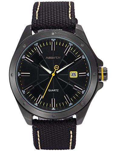 Agent X Herren Armbanduhr Schwarz Datum Anzeige Japan Quarz Nylon Band Uhr AGX148