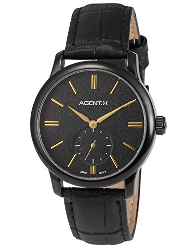 Agent X Herren Quarzuhr Analog Leder Armband Geschaeftlich Typ AGX078
