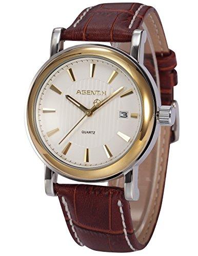 Agent X minimalistische Quarzuhr Braune Armband aus Leder AGX022