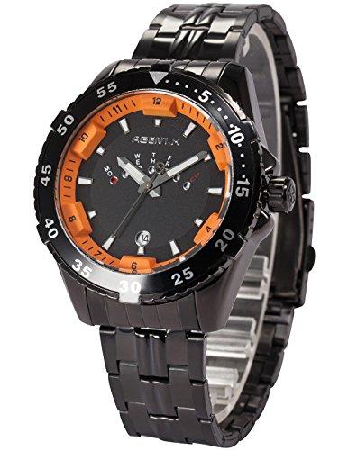 Agent X Herren Quarzuhr Schwarz Edelstahl Armband Datumanzeige AGX106