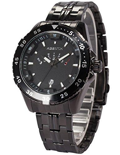 Agent X Herren Quarzuhr Schwarz Edelstahl Armband Datumanzeige AGX104