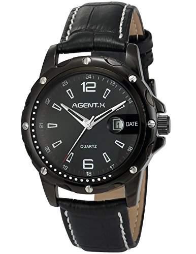 Agent X Herren Armbanduhr Quarzuhr Schwarze Armband aus Leder Datumanzeige AGX007