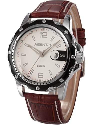 Agent X Herren Armbanduhr Quarzuhr Braune Armband aus Leder Datumanzeige AGX008
