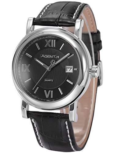 Agent X Herren Armbanduhr Quarzuhr Schwarze Armband aus Leder Datumanzeige AGX017