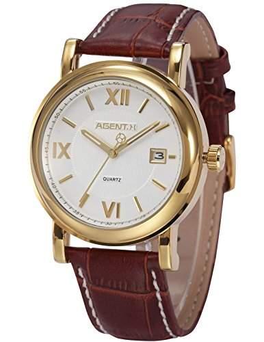 Agent X Herren Armbanduhr Quarzuhr Braune Armband aus Leder Datumanzeige AGX018