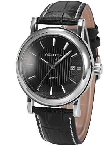 Agent X minimalistische Herren Armbanduhr Quarzuhr Schwarze Armband aus Leder AGX020