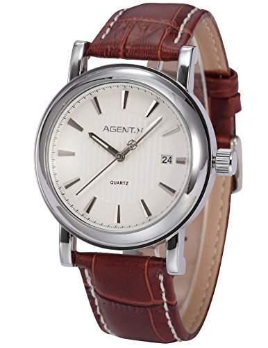 Agent X minimalistische Herren Armbanduhr Quarzuhr Braune Armband aus Leder AGX021