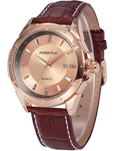 Agent X minimalistische Herren Armbanduhr Quarzuhr Braune Armband aus Leder AGX024