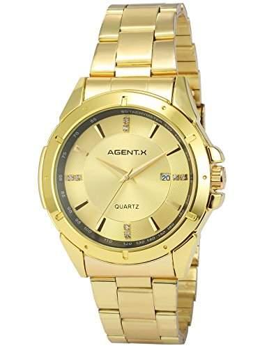 Agent X Herren Armbanduhr Quarzuhr Armband aus Metall Datumanzeige AGX026