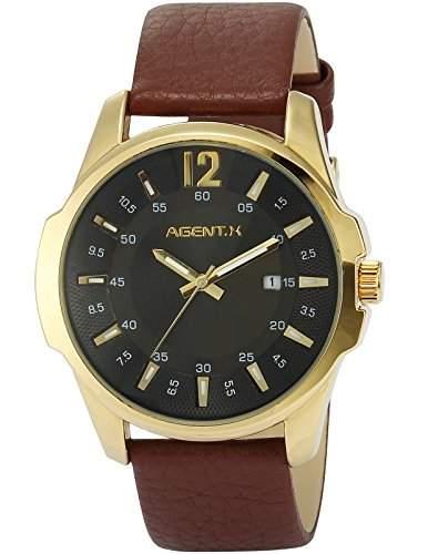 Agent X Herren Armbanduhr Quarzuhr mit Braun Armband aus Leder AGX029