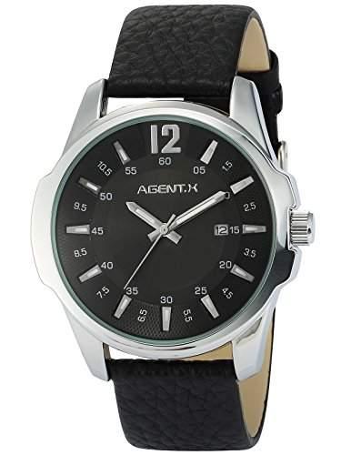 Agent X Herren Armbanduhr Quarzuhr mit Schwarze Armband aus Leder AGX030