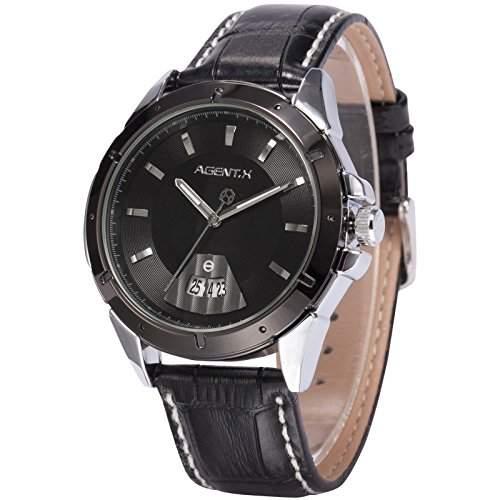 Agent X Herren Armbanduhr Quarzwerk Schwarze Armband aus Leder mit Datumanzeige AGX038