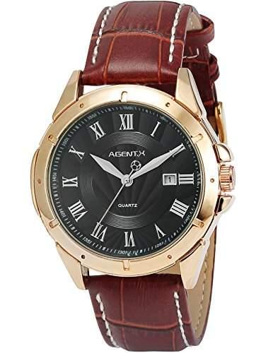 Agent X Herren Armbanduhr Quarzuhr Braune Armband aus Leder mit Datumanzeige AGX040