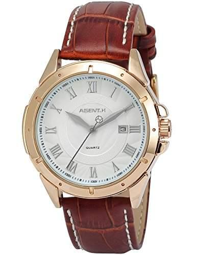 Agent X Herren Armbanduhr Quarzuhr Braune Armband aus Leder mit Datumanzeige AGX042