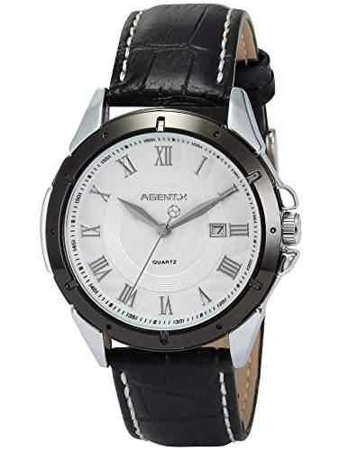 Agent X Herren Armbanduhr Quarzuhr Schwarze Armband aus Leder mit Datumanzeige AGX043