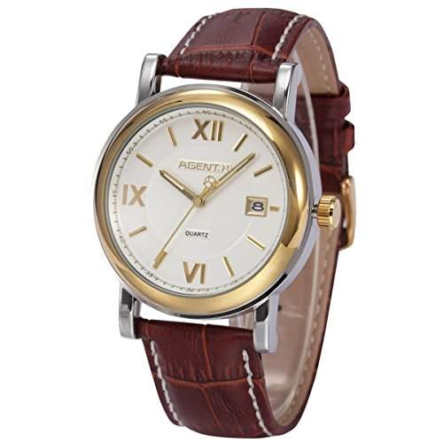 Agent X Herren Armbanduhr QuarzuhrSchwarze Armband aus Leder Datumanzeige AGX045