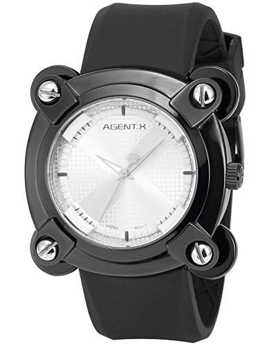 Agent X Herren Armbanduhr Analog Japanisch Quarzuhr Silikon Armband AGX046