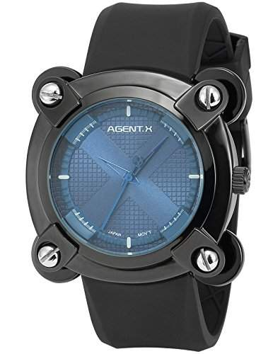 Agent X Herren Armbanduhr Analog Japanisch Quarzuhr Silikon Armband AGX048