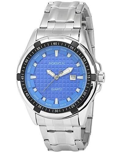 Agent X Herren Armbanduhr Analog Japanisch Quarzuhr Stahl Armband AGX064