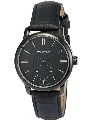 Agent X Herren Quarzuhr Analog Leder Armband Geschaeftlich Typ AGX080