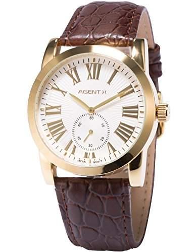 Agnet X Herren Analog Business Leder Armband Japan Quarz Armbanduhr AGX090