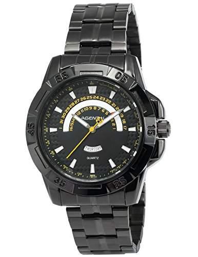Agent X Herren Quarzuhr Analog Schwarz Edelstahl Armband Datumanzeige AGX103