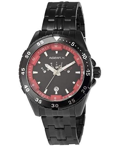 Agent X Herren Quarzuhr Schwarz Edelstahl Armband Datumanzeige AGX107
