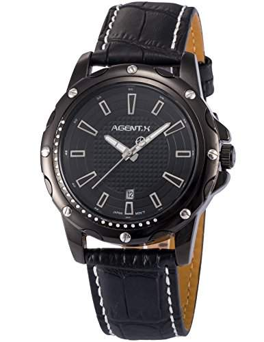Agent X Herren Analog Leder Band Japan Quarzwerk Datum Anzeige Armbanduhr AGX118