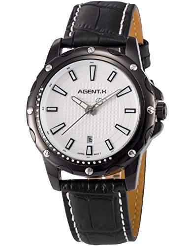 Agent X Herren Analog Leder Band Japan Quarzwerk Datum Anzeige Armbanduhr AGX121