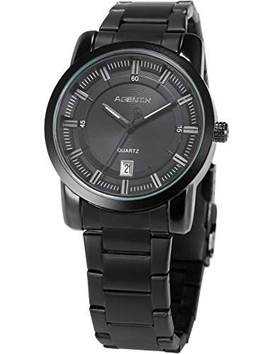 Agent X Herren Luxus Armbanduhr Analog Japanisches Quarz Datum Anzeige Stahl Band AGX131