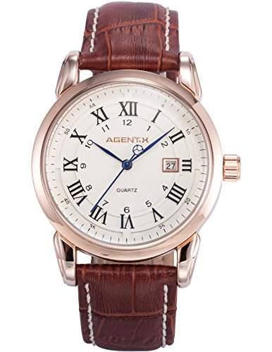 Agent X Herren Armbanduhr Analog Quarzuhr Datum Anzeige Leder Band Dress Uhr AGX132