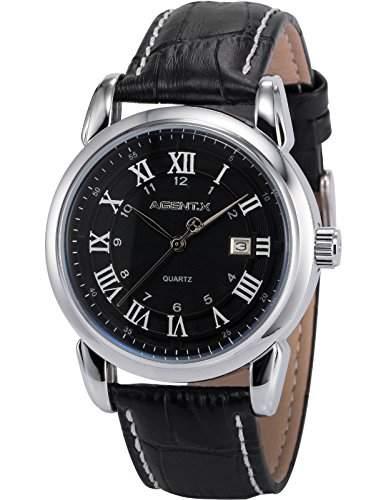 Agent X Herren Armbanduhr Analog Quarzuhr Datum Anzeige Leder Band Dress Uhr AGX134