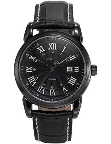 Agent X Herren Armbanduhr Analog Quarzuhr Datum Anzeige Leder Band Dress Uhr AGX136