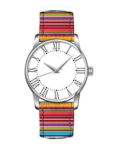 Bunte Maedchen Armband Uhr Regenbogen-bunte Streifen