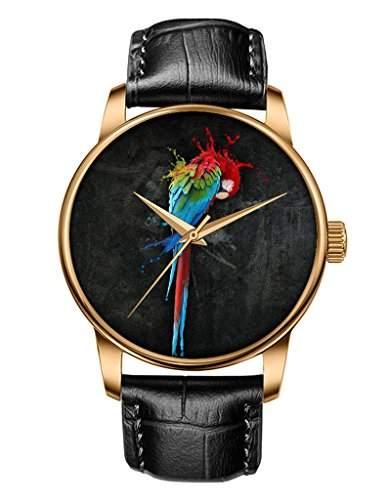 Armbanduhr, Golden Schwarz echte Leder Maedchenuhr Damenuhr mit Geschmolzene Papagei OOFIT Design