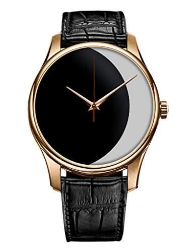 Geschenk Armbanduhr, Golden Schwarz Damenuhr Leder Armbanduhr mit Schwarz-Weiss-Mond OOFIT Design