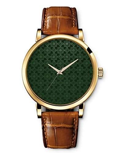 Goldene Damenuhr Analog Quarzuhr ladys Watch braunes Leder Armband Armbanduhr mit Gruenes Muster Zifferblatt Bilder von OOFIT