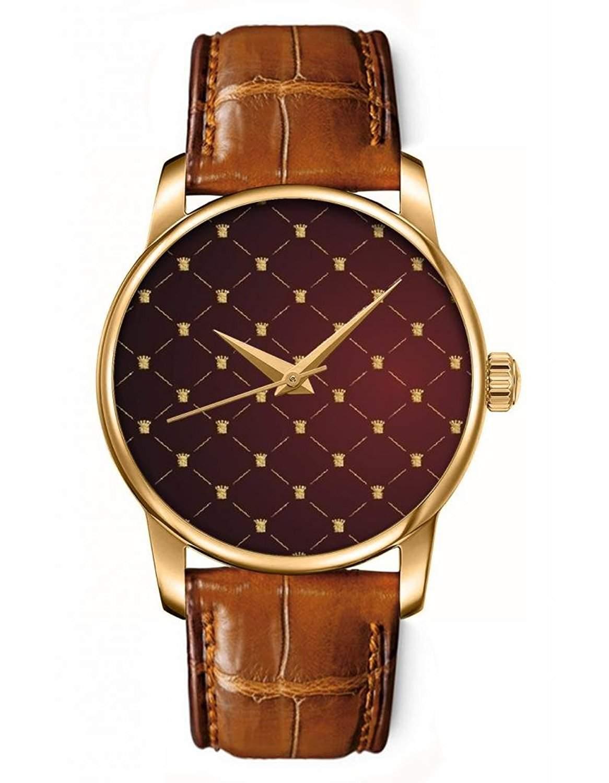 Goldene Analoguhr Quarzuhr Armbanduhr braunes Leder mit Gelb Rautenmuster Zifferblatt von OOFIT