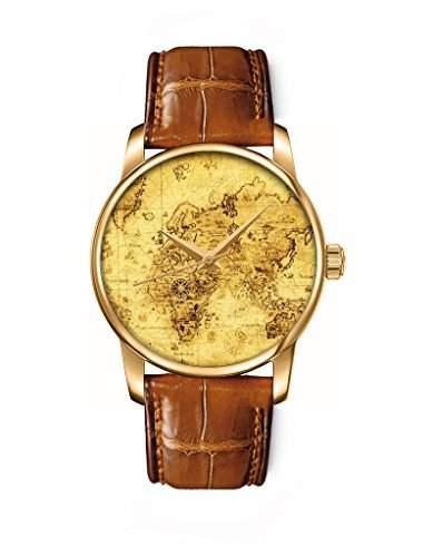 Goldene Damenuhr Armbanduhr Quarzuhr Analog braunes Leder Armband mit Landkarte Zifferblatt Bilder von OOFIT