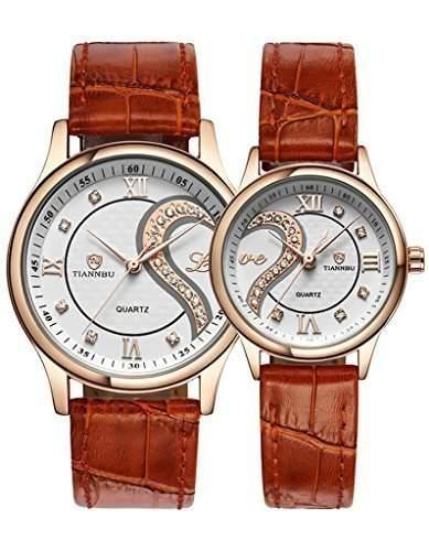 OOFIT Uhr Damen uhr herren uhr Seine und ihre braunes Lederarmband Gold ueberzogenes Geschenk Partneruhr Uhren Paar Uhren 2er-Set